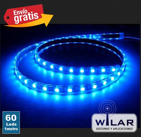 Tira LED 1 metro 60 LEDs Azul Impermeable 3528