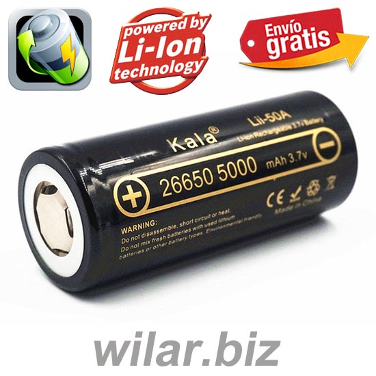 BATERIA LITIO RECARGABLE 26650 3,7 5000mAh