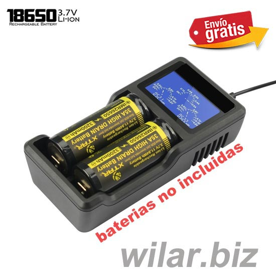.CARGADOR DOBLE BATERIAS LITIO CON DISPLAY LCD ILUMINADO