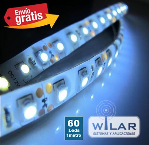 Tira LED 1 metro 60 LEDs Blanco Impermeable 3528